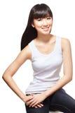 中国长期女孩头发相当柔滑的年轻人 免版税库存照片