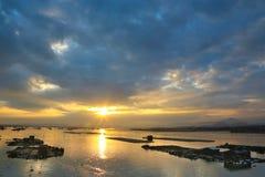 中国霞浦海边日落, 免版税库存图片