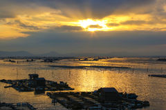 中国霞浦海边日落 库存图片
