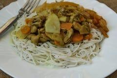 中国面条宰好的禽类菜细节 免版税库存图片