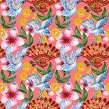 中国韩国人和日本和服启发的手拉的无缝的背景样式yukata背景背景水彩树胶水彩画颜料 向量例证