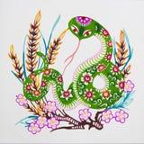 中国颜色剪切纸张蛇黄道带 库存照片