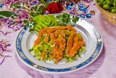 中国食物牌照三文鱼 免版税库存图片