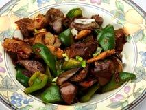 中国食用鱼调味了在蒜酱油的茄子 免版税库存照片