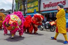 中国饥饿的中元节的(Por突岩) a街道表现 库存图片