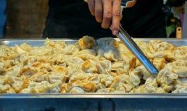 中国饺子油煎了 免版税图库摄影