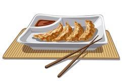 中国饺子用调味汁 免版税库存照片