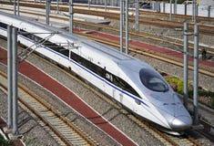 中国高速火车,铁路 免版税图库摄影