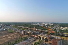 中国高速铁路建筑场面 免版税库存照片