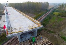中国高速铁路建造场所 库存照片
