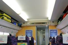 中国高速鸸火车的里面 图库摄影