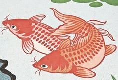 中国鱼绘画寺庙墙壁 免版税库存图片