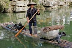 中国鸬鹚渔夫 库存图片