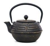中国黑茶壶被隔绝在白色背景 免版税库存照片