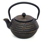 中国黑茶壶被隔绝在白色背景 库存图片