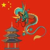 中国龙传染媒介平的例证 向量例证