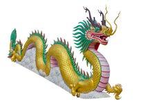中国龙金黄雕象 库存图片
