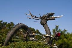 中国龙雕象。 龙的年 免版税库存图片