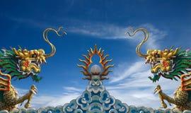 中国龙雕象 免版税图库摄影