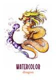 中国龙水彩手拉的画象  免版税库存图片