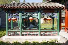 中国,亚洲,北京,盛大看法庭院,古色古香的大厦 免版税库存图片