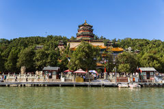 中国,北京 北京宫殿夏天 长寿小山和寺庙Foxiangge -塔佛教香火(寺庙Foxiangge) 库存图片