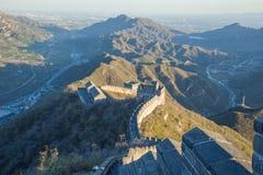 中国, Pekin,中国墙壁,日落,历史 2016年 免版税库存照片