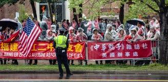 中国活动家的一次平安的示范在华盛顿 免版税图库摄影