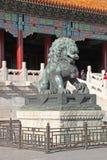 中国 北京 古铜色狮子雕象在故宫 免版税图库摄影