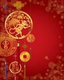 中国猴子新年装饰红色背景 免版税库存照片