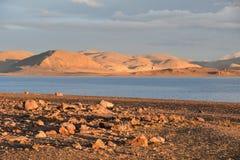 中国 西藏的大湖 湖Teri塔石纳木错在夏日 图库摄影