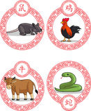 中国黄道带动物-黄牛、鼠、雄鸡&蛇 库存图片