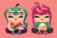 中国黄道带幸运的孩子:蛇和龙 向量例证