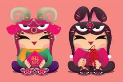 中国黄道带幸运的孩子:Ram和兔子 库存图片
