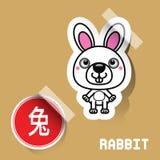 中国黄道带标志兔子贴纸 免版税库存照片