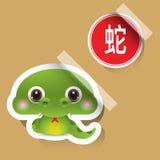 中国黄道带标志蛇贴纸 库存照片