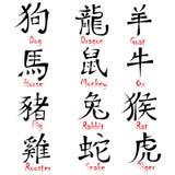 中国黄道带标志设计 免版税库存照片