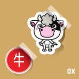 中国黄道带标志黄牛贴纸 免版税库存照片