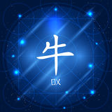 中国黄道带标志黄牛 免版税库存照片