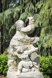 中国黄道带鸡雕象的12个动物 免版税库存照片