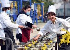 中国` s江苏省:hongze湖镇,可口食物一个小镇  免版税库存图片