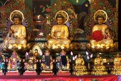 中国Buddhas和上帝雕象在Wat Phanan Choeng,阿尤特拉利夫雷斯,泰国 免版税库存图片