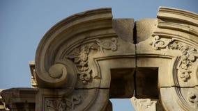 中国yuanmingyuan的北京,历史遗产残骸,皇家庭院柱子 股票视频
