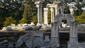 中国yuanmingyuan的北京,历史遗产残骸,皇家庭院柱子 影视素材
