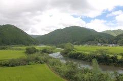 中土佐地区谷的全景在日本 库存照片