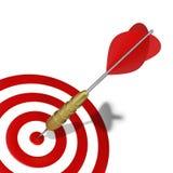 击中在目标的图表标记箭  库存照片