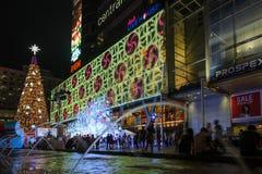 中央世界商城在晚上,欢迎到圣诞节 免版税库存照片