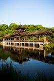 在湖反射的惊人的老日本桥梁 免版税库存照片