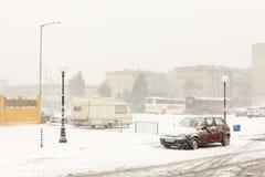 中央停车处在波摩莱,保加利亚, 12月31日 库存图片