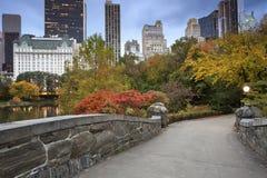 中央公园和曼哈顿地平线。 免版税图库摄影